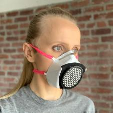 Basic Respirator 3/4 view on model with 65mm filter